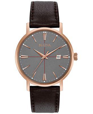Bulova Men's Brown Leather Strap Watch 39mm 97B154