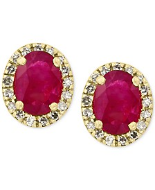 Amoré by EFFY® Certified Ruby (1-1/8 ct. t.w.) and Diamond (1/8 ct. t.w.) Earrings in 14k Gold