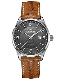 Men's Swiss Automatic Jazzmaster Viewmatic Light Brown Ostrich Leather Strap Watch 44mm H32755851