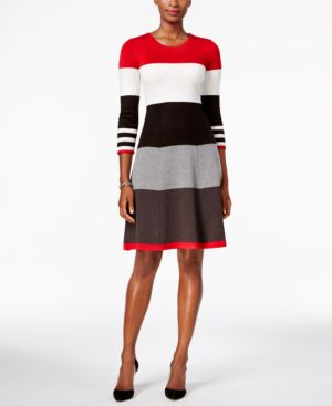 Jessica Howard Striped Fit & Flare Sweater Dress 2955521