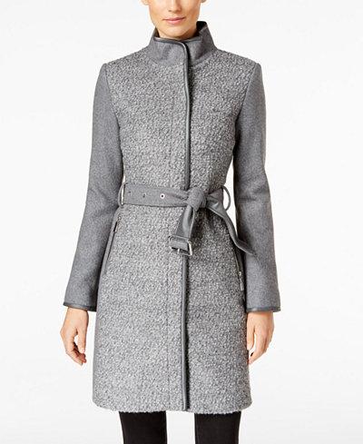 Vince Camuto Faux Leather Trim Boucl 233 Coat Women Macy S