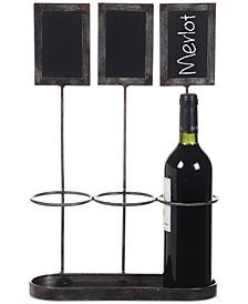 Metal Wine Bottle Holder with Chalkboard Labels