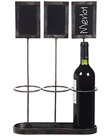 Metal Wine Bottle Holder with Chalkboard Labels