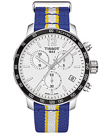 Tissot Unisex Swiss Golden State Warriors Quickster Blue, White & Yellow Strap Watch 42mm T0954171703715