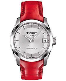 Tissot Women's Swiss Automatic Couturier Powermatic 80 Red Leather Strap Watch 32mm T0352071603101