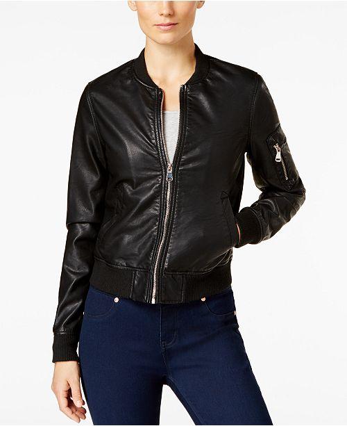 Madden Girl Faux-Leather Bomber Jacket