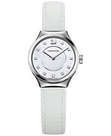 Swarovski Women's Swiss Dreamy White Leather Strap Watch 28mm 5199946