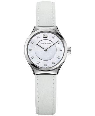 Swarovski Women's Swiss Dreamy White Leather Strap Watch 28mm 5199946