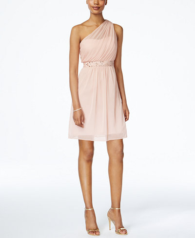 Adrianna Papell One-Shoulder Embellished Dress - Women - Macy's