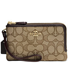 COACH Small Double Corner Zip Wristlet in Signature Jacquard