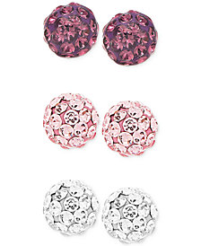 Children's 3-Pc. Set Crystal Fireball Stud Earrings in Sterling Silver