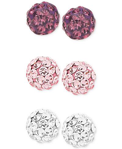 Children's 3-Pc. Set Crystal Fireball Stud Earrings in Sterling Silver
