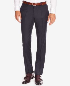 HUGO BOSS Boss Men'S Slim-Fit Virgin Wool Dress Pants in Navy