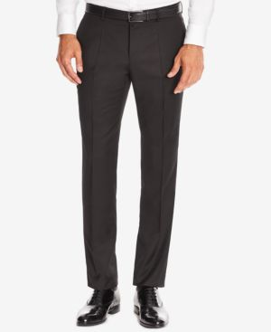 HUGO BOSS Boss Men'S Slim-Fit Virgin Wool Dress Pants in Black