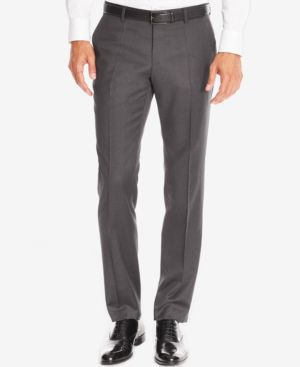 HUGO BOSS Boss Men'S Slim-Fit Virgin Wool Dress Pants in Charcoal