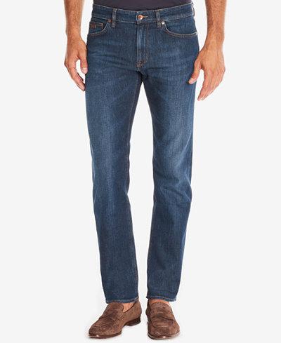 BOSS Men's Regular/Classic-Fit Dark Wash Whiskered Jeans