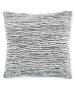 "Lacoste Home Chunky Space-Dyed 18"" Square Light Gray Decorat"