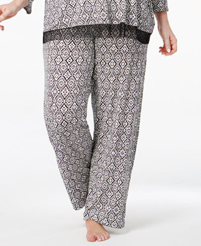 Ellen Tracy Plus Size Diamond-Print Pajama Pants