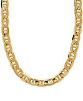 "Italian Gold 22"" Beveled Marine Link Necklace in 10k Gold"