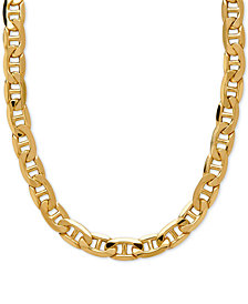 "Italian Gold 22"" Beveled Marine Link Necklace in 10k Gold"