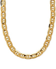 "Italian Gold 22"" Beveled Marine Link Necklace (7-1/5mm) in 10k Gold"