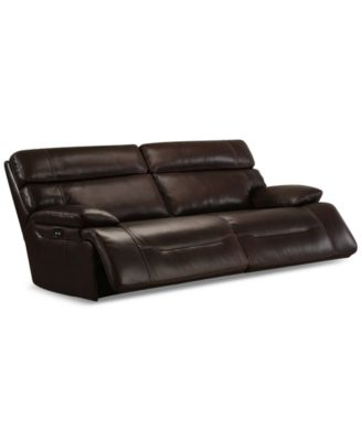 barington leather sofa with 2 power recliners power headrests and usb power outlet