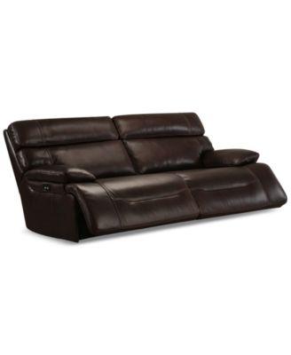 furniture barington 85 leather sofa with 2 power recliners power rh macys com leather sofa with recliner deals leather sofa with electric recliner