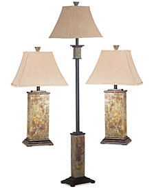 Kenroy Home Rustic Slate Lamp 3-Pc. Set: 1 Floor Lamp & 2 Table Lamps