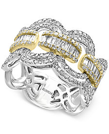 Duo by EFFY® Diamond Statement Ring (1-1/10 ct. t.w.) in 14k White and Yellow Gold