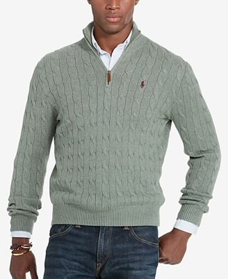 Polo Ralph Lauren Mens Cable Knit Mock Neck Sweater Sweaters