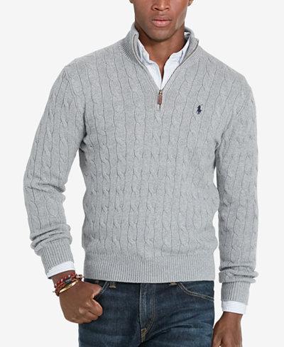 Polo Ralph Lauren Men's Cable-Knit Mock Neck Sweater