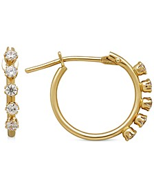 Children's Cubic Zirconia Studded Hoop Earrings in 14k Gold