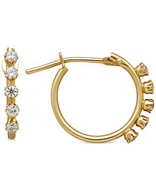 Children's Cubic Zirconia Studded Hoop Earrings in 14k Gold