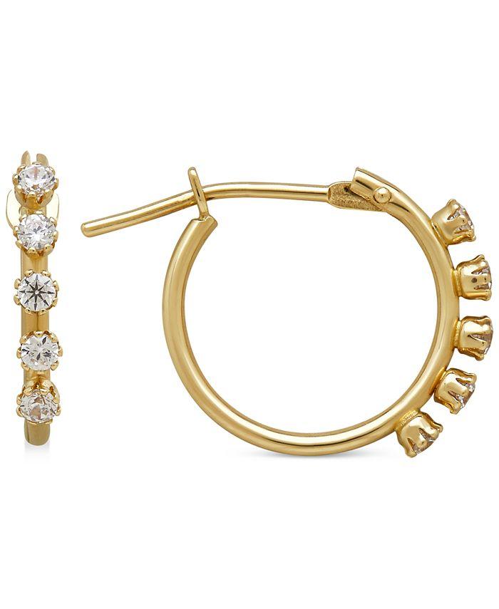Macy's - Cubic Zirconia Studded Hoop Earrings in 14k Gold