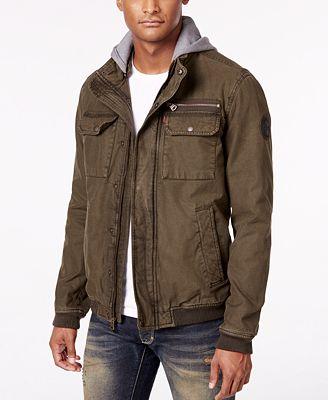 Levi's® Men's Twill Hooded Bomber Jacket - Coats & Jackets - Men ...