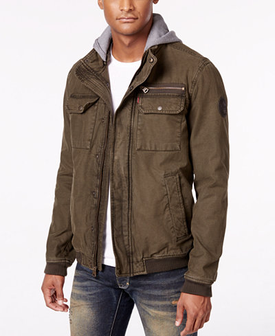 Levi's® Men's Twill Hooded Bomber Jacket - Coats & Jackets - Men ...