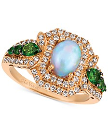 Le Vian® Opal (5/8 ct. t.w.), Diamond (1/2 ct. t.w.) and Diopside (3/8 ct. t.w.) Ring in 14k Rose Gold, Created for Macy's
