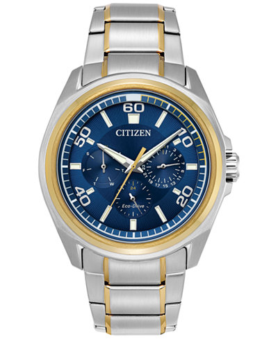 Citizen Eco-Drive Men's Calendrier Two-Tone Stainless Steel Bracelet Watch 44mm BU2064-58L, A Macy's Exclusive Style