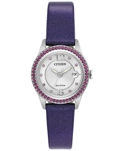 Citizen Eco-Drive Women's Silhouette Crystal Jewelry Purple Leather Strap Watch 29mm FE1128-06A, A  Exclusive