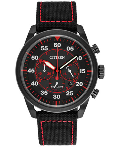 Citizen Eco-Drive Men's Chronograph Avion Black Nylon Strap Watch 45mm CA4215-12E, A Macy's Exclusive