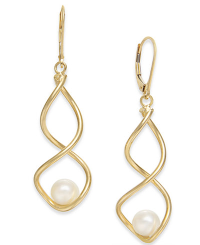 Cultured Freshwater Pearl (7mm) Twist Drop Earrings in 14k Gold