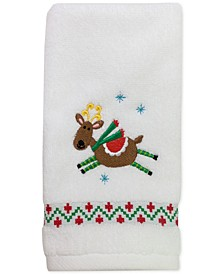 "CLOSEOUT! Flying Reindeer 11"" x 18"" Fingertip Towel"