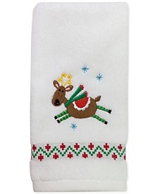 "CLOSEOUT! Dena Flying Reindeer 27"" x 50"" Bath Towel"