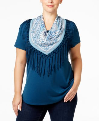 Style & Co. Plus Size T-Shirt with Printed Scarf, Only at Macy's