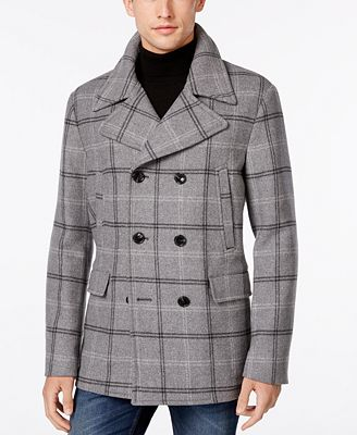 Michael Kors Men's Plaid Pea Coat - Coats & Jackets - Men - Macy's