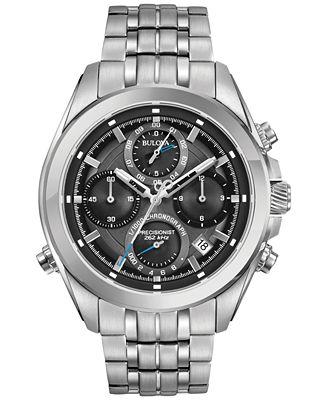 Bulova Men's Chronograph Precisionist Stainless Steel Bracelet Watch 45mm 96B260