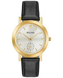 Bulova Women's Black Leather Strap Watch 32mm 97L159