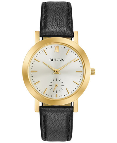 Bulova Women's Black Leather Strap Watch 32mm 97L159