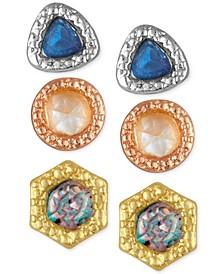 3-Pc. Set Stone Stud Earrings