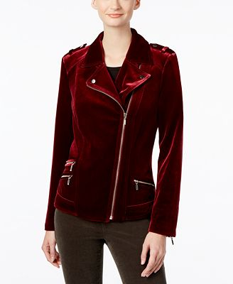 INC International Concepts Velvet Moto Jacket, Created for Macy's ...